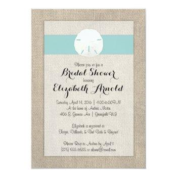 sand dollar burlap beach wedding bridal shower invitation