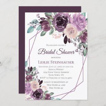 sangria purple mauve watercolor bridal shower invitation