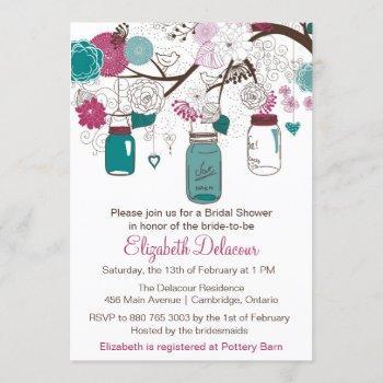 sangria & teal mason jars bridal shower invitation