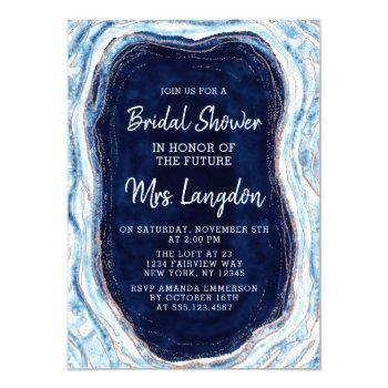 sapphire blue geode slice wedding bridal shower invitation
