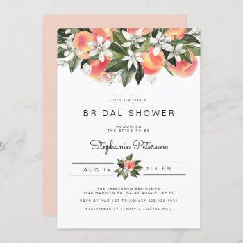 savannah - watercolor peach floral bridal shower invitation