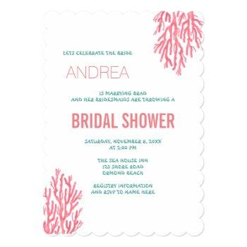 sea coral n blue text bridal shower invitation