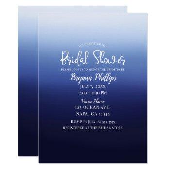 sea ocean blue modern minimal beach bridal shower invitation