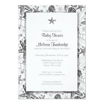 sea shells starfish silhouette baby shower invites