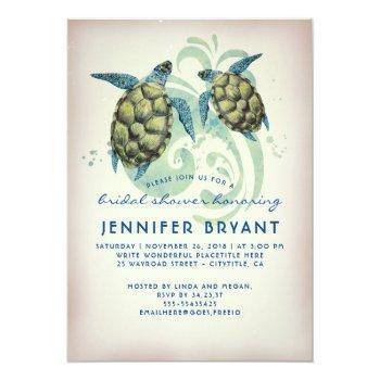 sea turtles beach bridal shower invitation