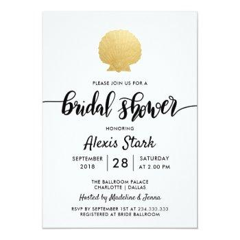 seashell faux gold foil ocean bridal shower invitation