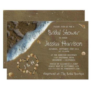 seashell heart beach bridal shower invitations