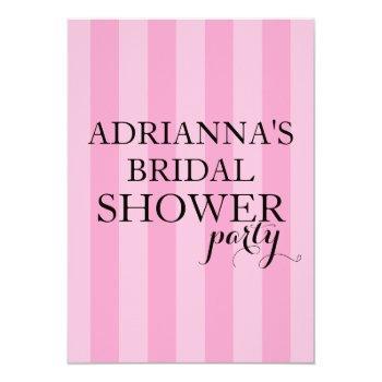 secret surprise bridal shower party pink stripes invitation