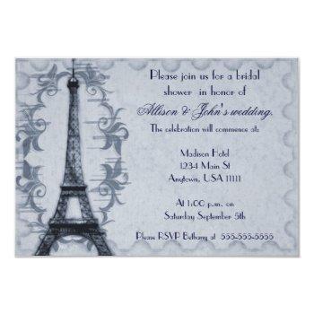 serene paris grunge bridal shower invitation