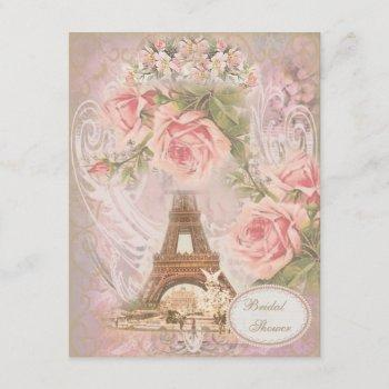 shabby chic eiffel tower pink floral bridal shower invitation