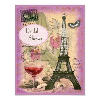 shabby chic eiffel tower & red wine bridal shower invitation