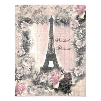 shabby chic eiffel tower & roses bridal shower invitation