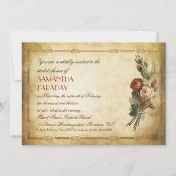 shabby vintage old paper bridal shower invitations