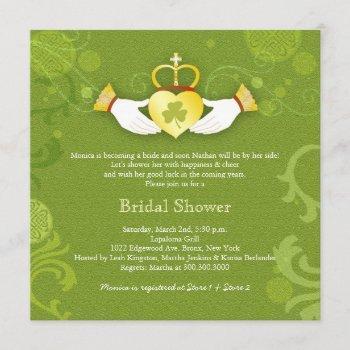 shamrock claddagh heart irish bridal shower invitation