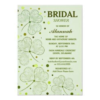 shamrock polka dots bridal shower 2 invitation