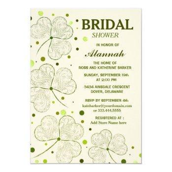shamrock polka dots bridal shower invitation