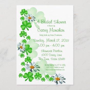 shamrocks and daisies bridal shower invitation