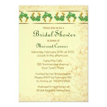 shamrocks and gold irish bridal shower invitation