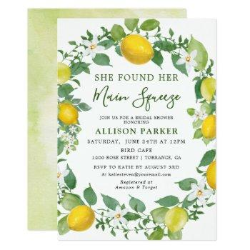 she found her min squeeze lemon bridal shower invitation