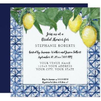 shibori navy n white w lemon citrus bridal shower invitation