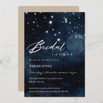 shiny navy starry night bridal shower invite