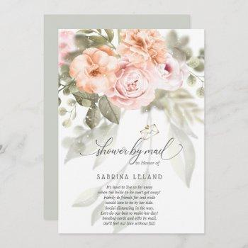shower by mail blush pink coral peonies invitation