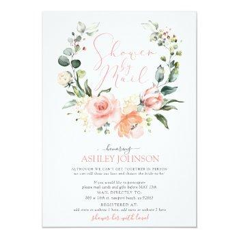Small Shower By Mail Dusty Pink Floral Wreath Bridal Invitation Front View