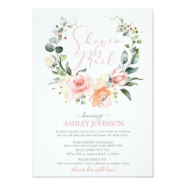 Shower By Mail Dusty Pink Floral Wreath Bridal Invitation