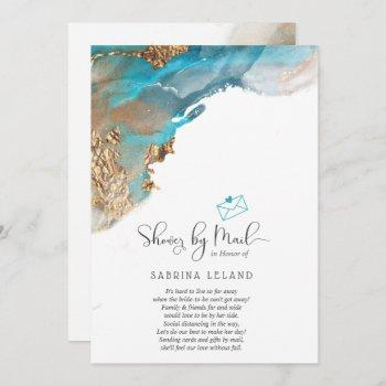 shower by mail marbled alcohol ink teal and gold invitation