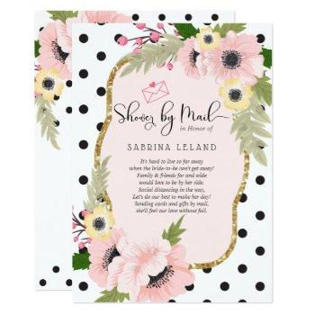 shower by mail -  pink yellow poppies dots invitation