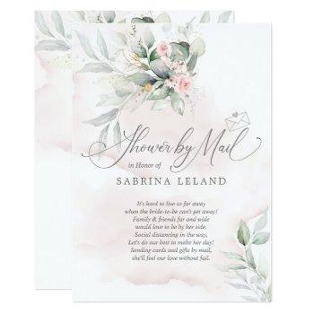 shower by mail  | rustic floral garden pale pink invitation