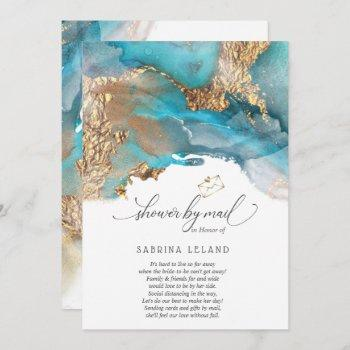 shower by mail teal and gold marbled alcohol ink invitation
