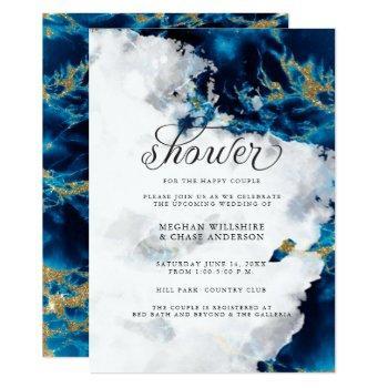 shower invite | blue sapphire watercolor geode