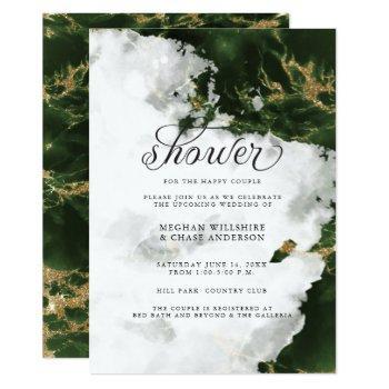 shower invite | emerald green watercolor geode