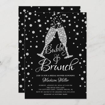 silver & black bubbly & brunch bridal shower invitation