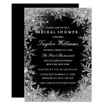 silver black jewel snowflake bridal shower invitation