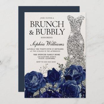 silver blue dress brunch & bubbly bridal shower invitation