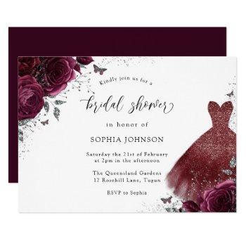 silver burgundy sparkle dress rose bridal shower invitation