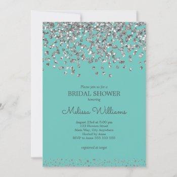 silver confetti teal elegant modern bridal shower invitation