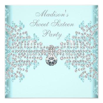 silver diamonds teal blue sweet 16 birthday party invitation
