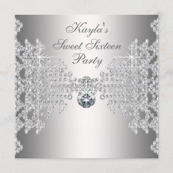 silver diamonds white sweet sixteen birthday party invitation