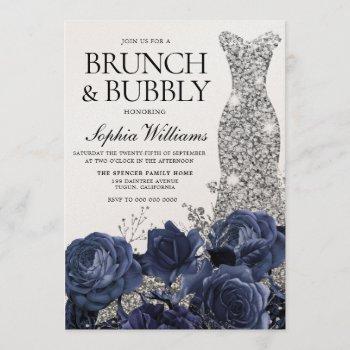 silver dress navy brunch & bubbly bridal shower invitation
