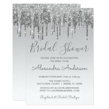 silver dripping glitter bridal shower invitation