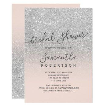 silver glitter blush pink script bridal shower invitation