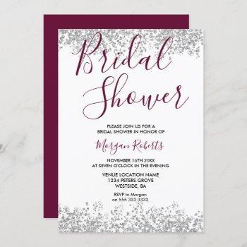 silver glitter burgundy bridal shower invitation