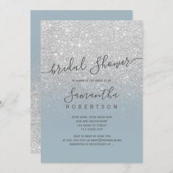 silver glitter dusty blue script bridal shower invitation