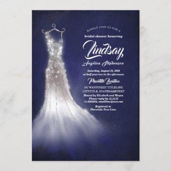 silver glitter elegant dress blue bridal shower invitation