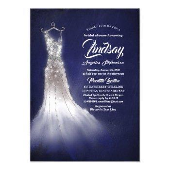silver glitter elegant dress blue bridal shower invitation