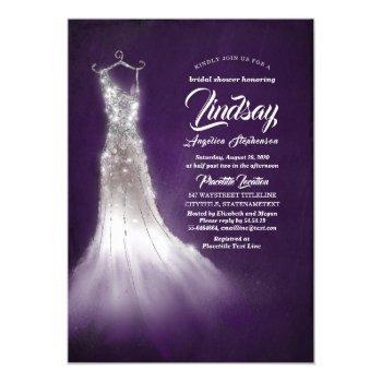 silver glitter elegant dress purple bridal shower invitation