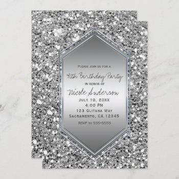 silver glitter glam chic birthday party any event invitation